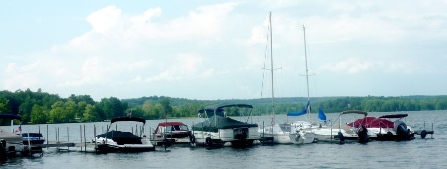 Boats on Lake Otsego near Bayside Inn, Cooperstown, NY