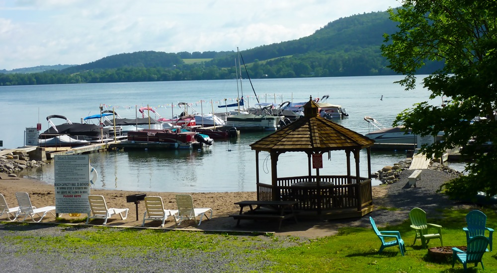 Otsego Lake views, beach, boating at Bayside Inn and Marina in Cooperstown NY
