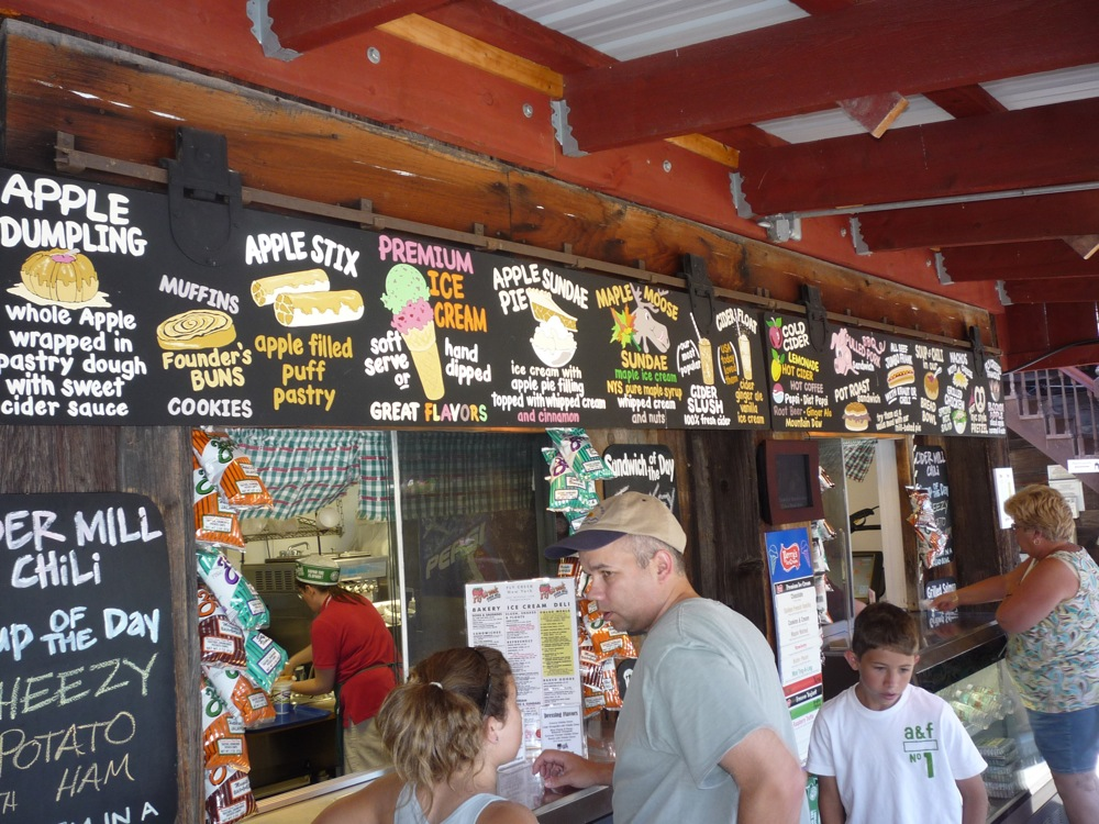 Amazing snack bar at Fly Creek Cider Mill in Fly Creek NY.